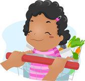 Shopping cart-Tjej — Stockfoto