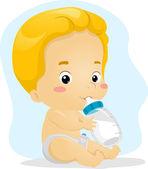 Baby Boy Sucking Milk — Stock Photo