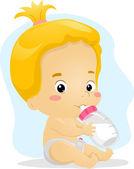 Baby Girl Sucking Milk — Stock Photo