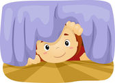 Kid Under the Bed — Foto Stock