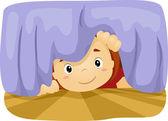Dítě pod postelí — Stock fotografie
