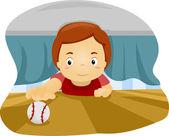Dziecko pod łóżkiem — Zdjęcie stockowe