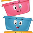 Food Container Mascots — Stock Photo