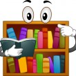 Bookshelf Mascot — Stock Photo