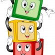 Building Blocks Mascot - Stock Photo