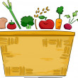 Basket of Fruits and Vegetables Background — ストック写真