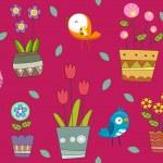 ptáky a rostliny pozadí — Stock fotografie