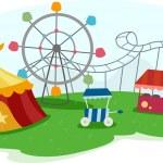 Theme Park with Rides — Stock Photo
