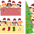 Stickman Kids Christmas Banner — Stock Photo