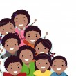 African-American Stickman Kids Border — Stock Photo