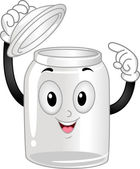 Glass Canister Mascot — Stock Photo