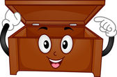Wooden Chest Mascot — Stock Photo