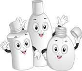 Toiletry Bottles Mascot — Stock Photo