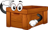 Wooden Box Mascot — Stock Photo