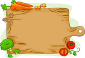 Chopping Board with Vegetables Background — Stock Photo