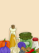 Condiments and Vegetables Background — Stock Photo