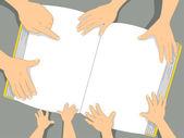 本の背景を持つ家族の手 — ストック写真