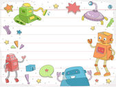 Robot Doodles on Ruled Paper Background — Stock Photo