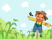 Scarecrow in Corn Farm — Stock Photo