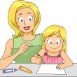Mom Teaching Daughter — Stock Photo