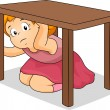 Girl Hiding Under Table - Stock Photo