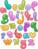 Bubbly Lettering Alphabet — Stock Photo