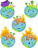 Iconos de planeta enfermo — Foto de Stock