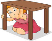Girl Hiding Under Table — Stock Photo