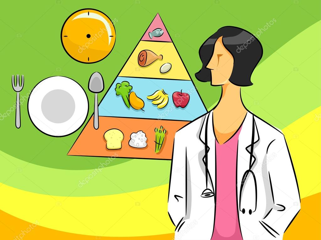 Cartoon Illustration of a Nutritionist Woman — Stock Photo #17179019