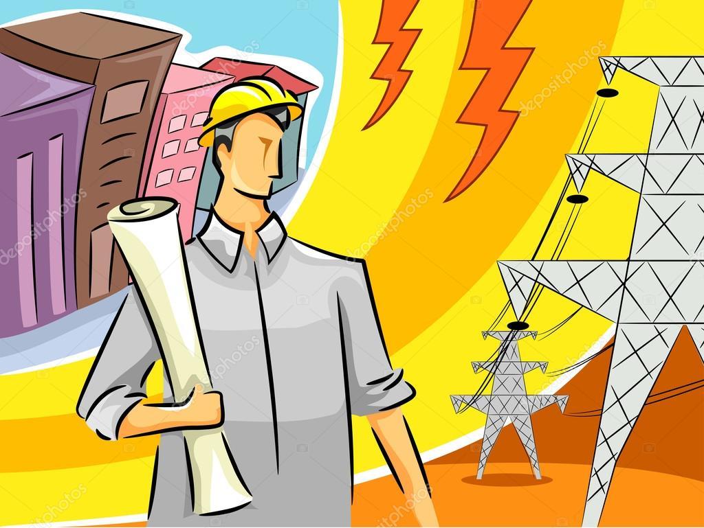 电气工程师站在靠近输电线路铁塔的插图