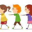 Kids Walking in One Line — Stock Photo #19413987