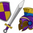 Gladiator Helmet Shield and Sword — Stock Photo