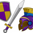 Gladiator Helmet Shield and Sword - Stock Photo
