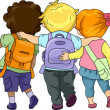 Kids Walking Together — Stock Photo