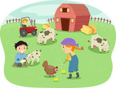 Barn Kids — Stock Photo