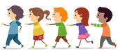 Kids Walking in One Line — Stock Photo