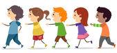 Kids Walking in One Line — Stock Photo