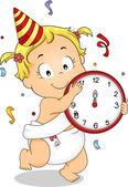 Baby Girl New Year — Stock Photo