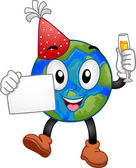 New Year Earth Mascot — Stock Photo