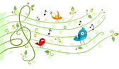 Birds Music Design — Stock Photo
