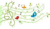 Fåglar musik design — Stockfoto