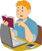 Guy Writer Researching — Stock Photo