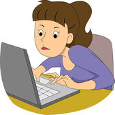 Girl Writer Typing Fast — Stock Photo
