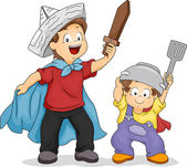 Hermanos espadas de juguete — Foto de Stock