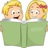 Siblings Reading a Book — Stock Photo