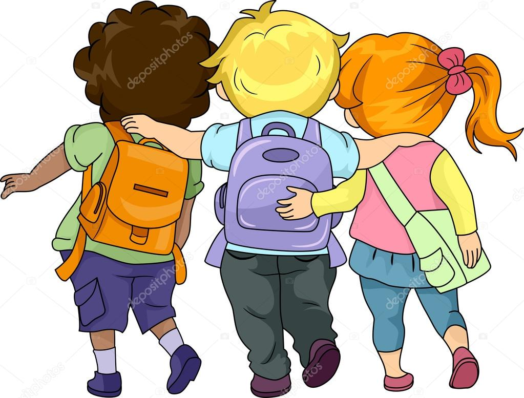 Children Walking Clip Art Kids walking together - stock