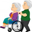 Senior Couple with the Old Lady on the Wheelchair - Foto Stock