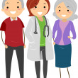 Senior Couple with their Doctor Stickman - Stock Photo