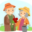 Senior Couple Gardening Stickman - Foto de Stock