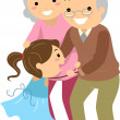 Grandparent Couples with Grandchild Stickman - Foto Stock